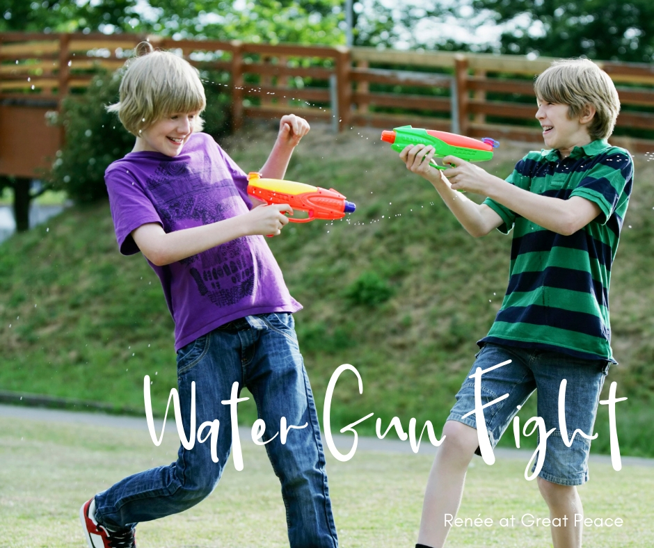 Water Gun Fight & 51 Other Family Bonding Activities | Renée at Great Peace #familybonding #family #activities