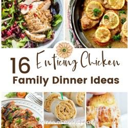 16 Enticing Chicken Family Dinner Ideas   Renée at Great Peace #mealplanning #familydinnerideas #chickenrecipes #ihsnet
