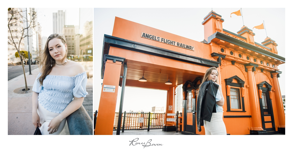 angels flight railway photo with girl