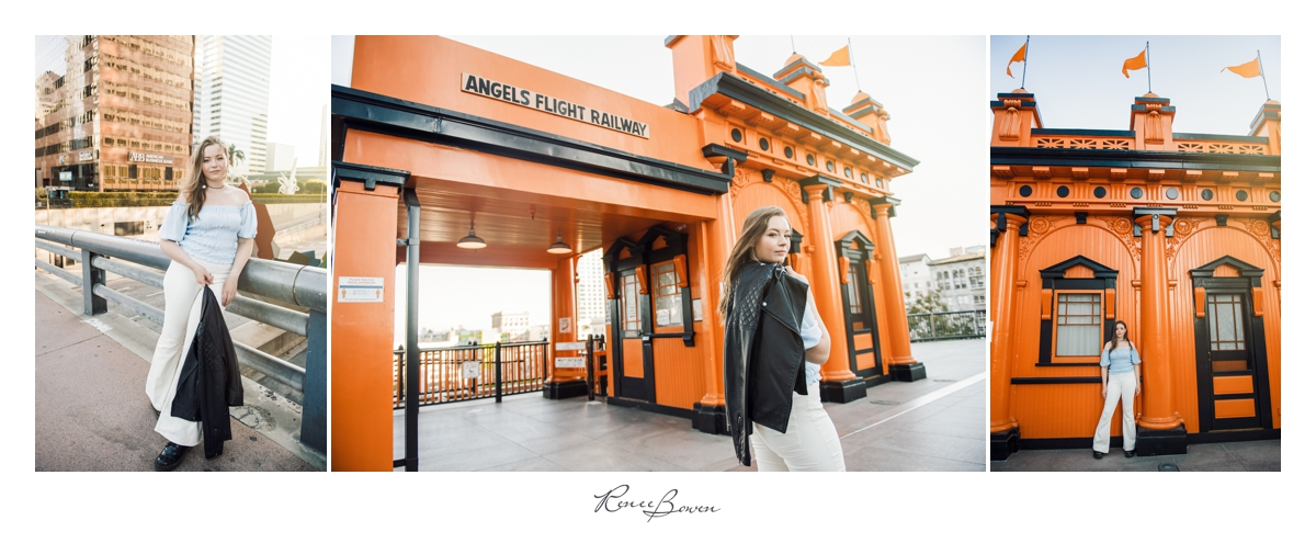 angels flight railway girl with leather jacket los angeles