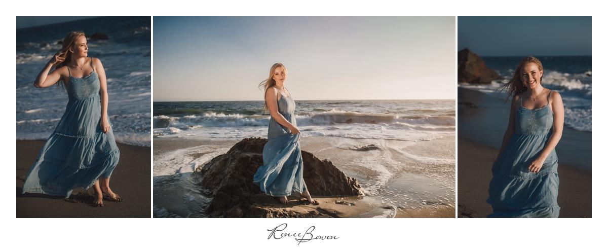 girl in blue dress on beach