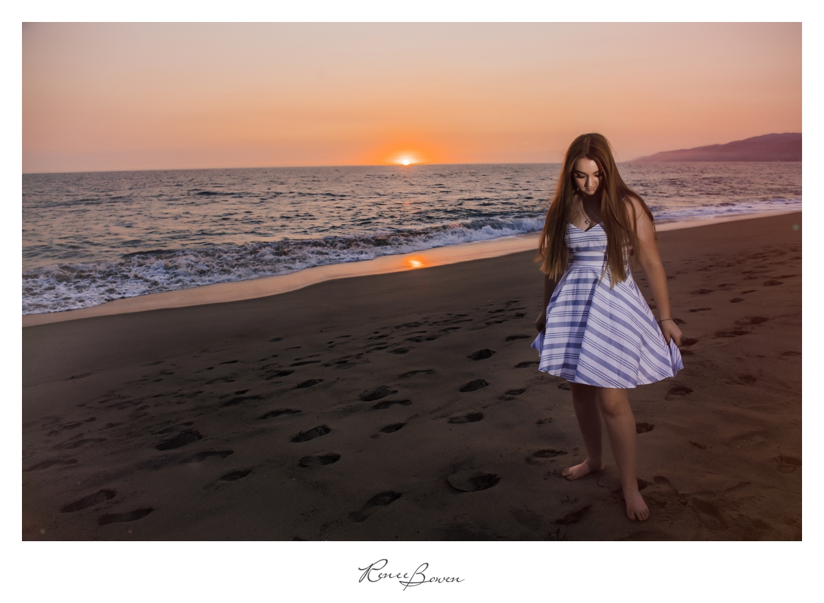 girl on beach sunset