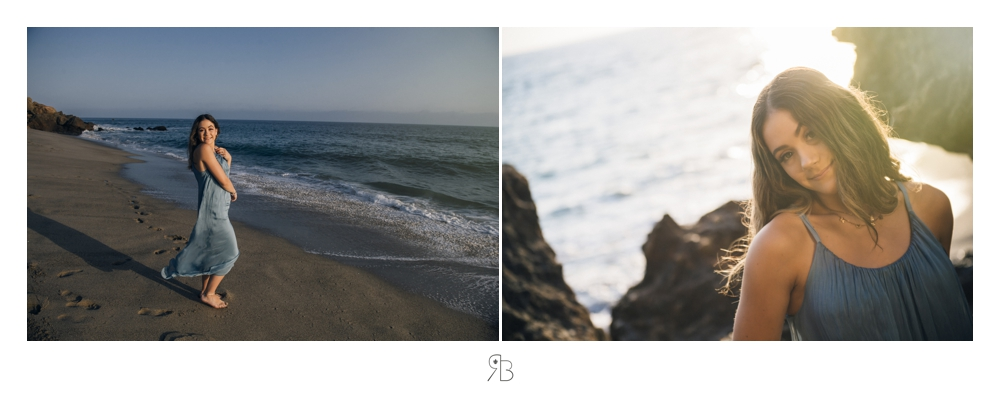 girl at beach wearing flowing blue long sundress Renee Bowen Seniors