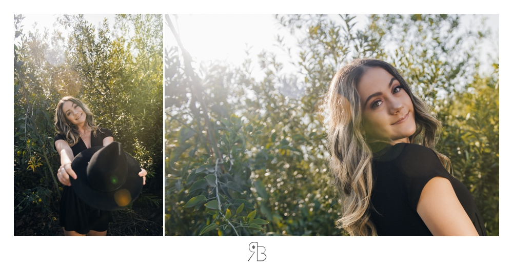 girl in outdoor setting surrounded by trees backlit Renee Bowen Seniors