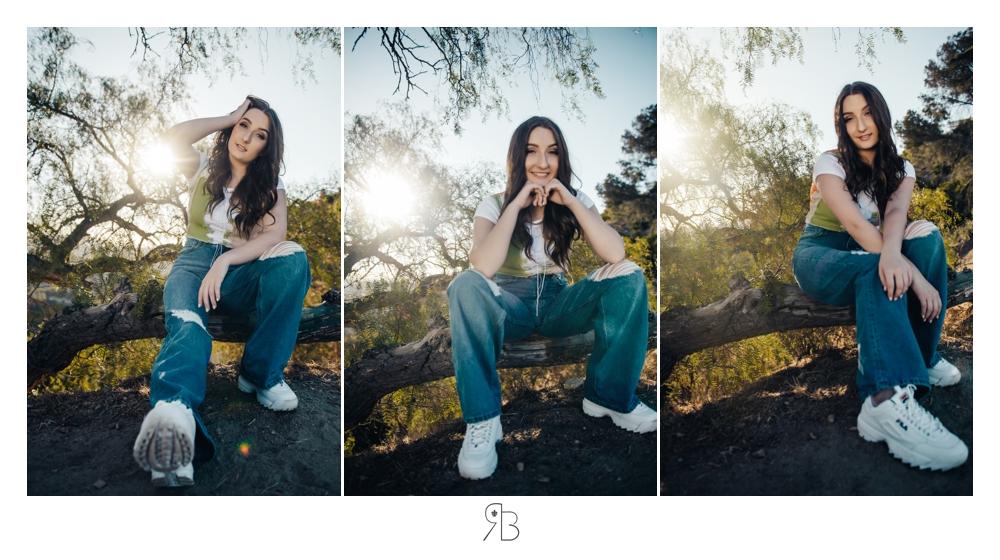 girl in multiple poses wearing jeans backlit renee bowen seniors