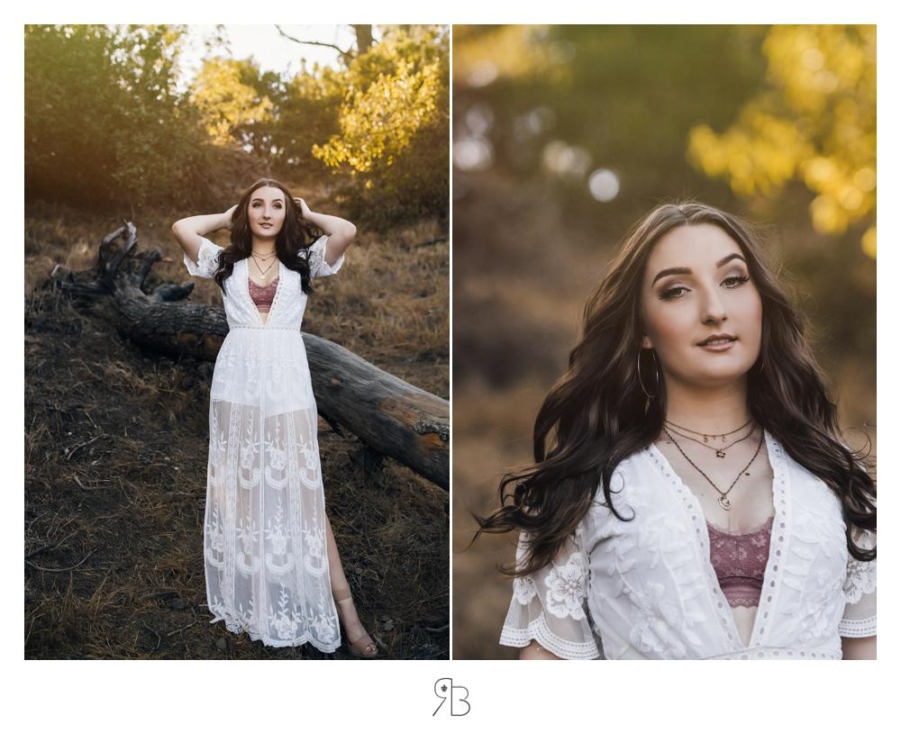 girl in white boho dress in trees senior session renee bowen seniors photography