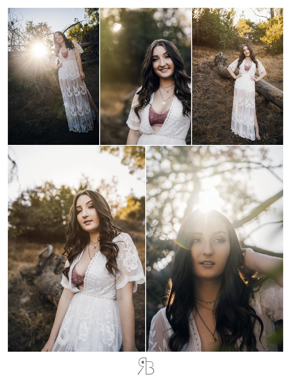 multiple images of girl in white boho dress in nature backlit renee bowen seniors