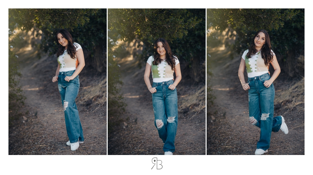 girl in jeans in tree lined area senior session renee bowen seniors