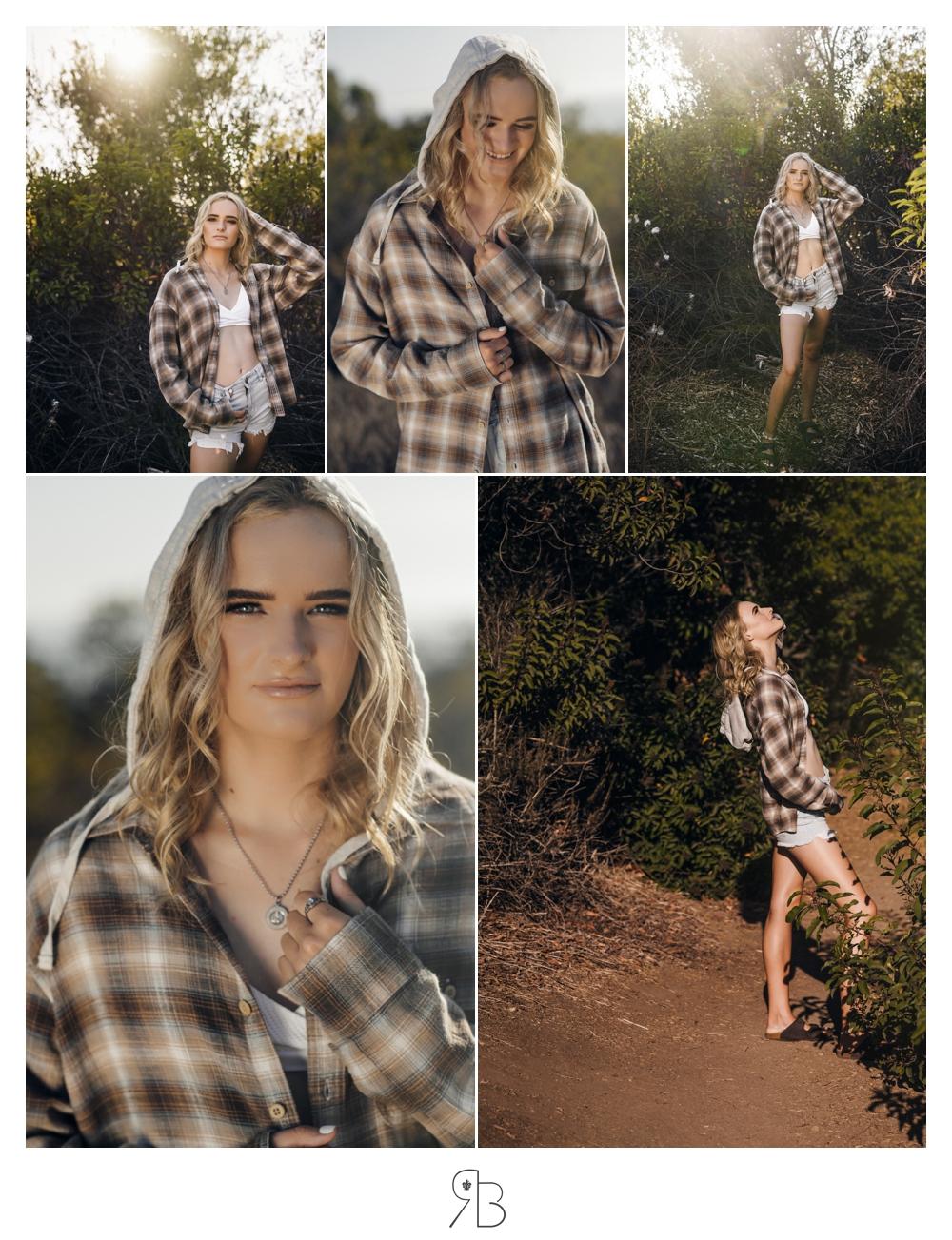Girl in natural setting plaid shirt and denim shorts Renee Bowen Seniors