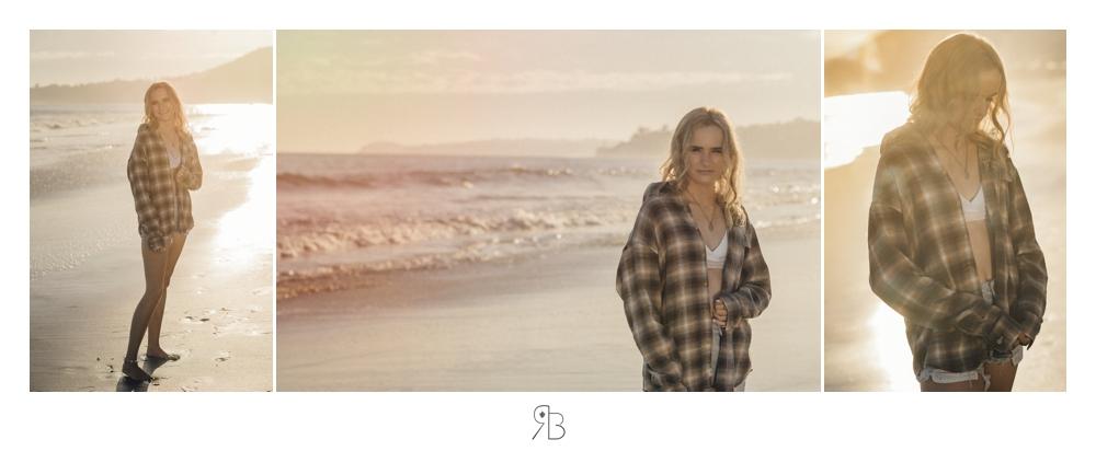 girl at beach back lit wearing plaid shirt white tank top denim shorts Renee Bowen Seniors