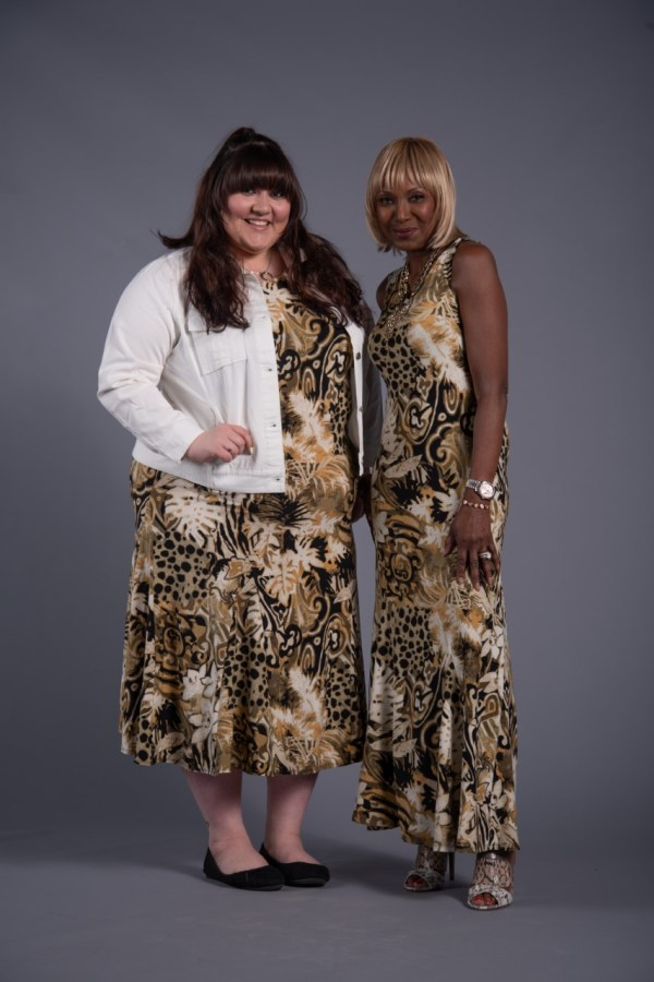 Printed godet maxi dress