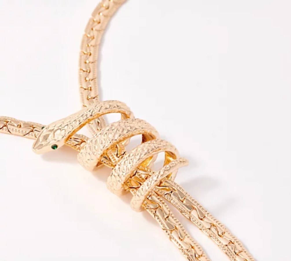 Lariat Necklace - closeup (goldtone)