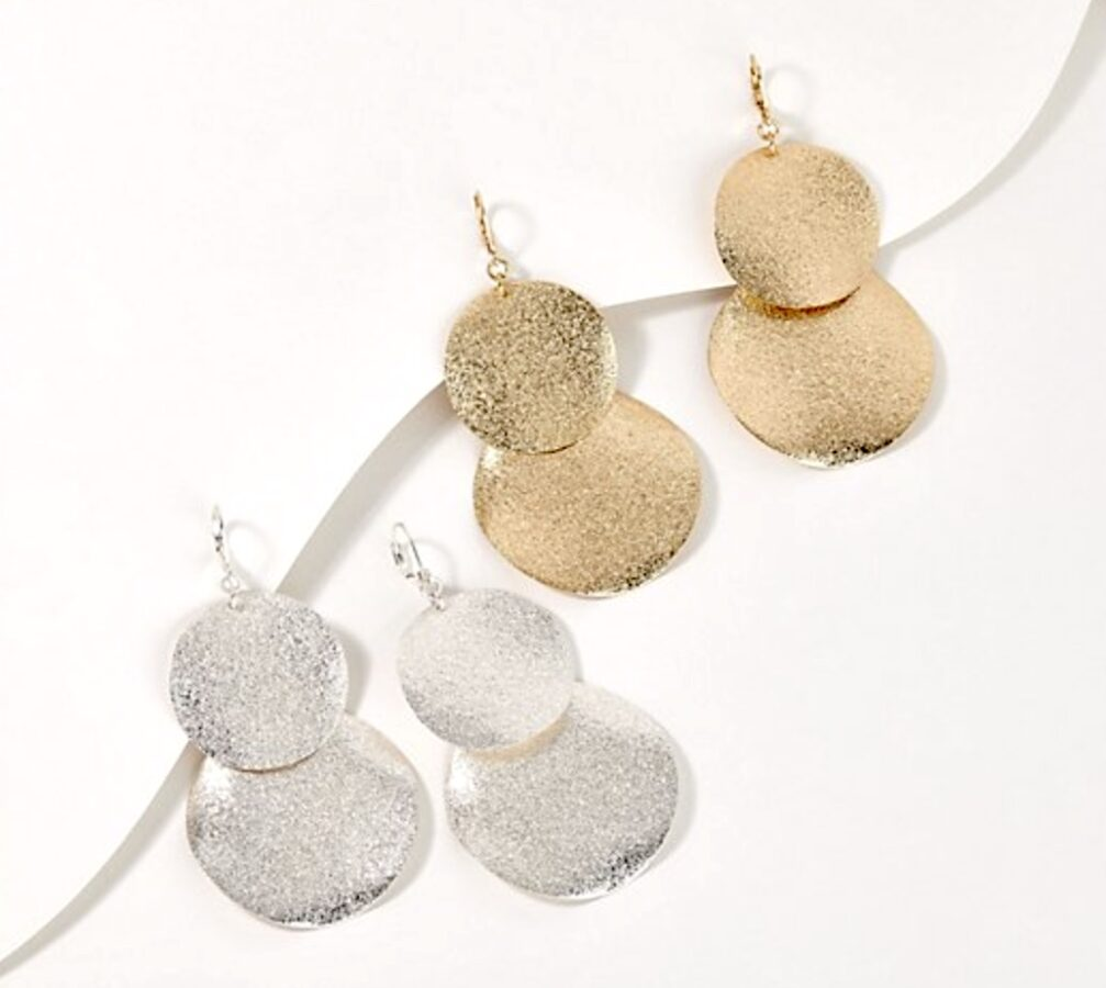 Attitudes by Renee Set of 2 Textured Double Round Wafer Earrings