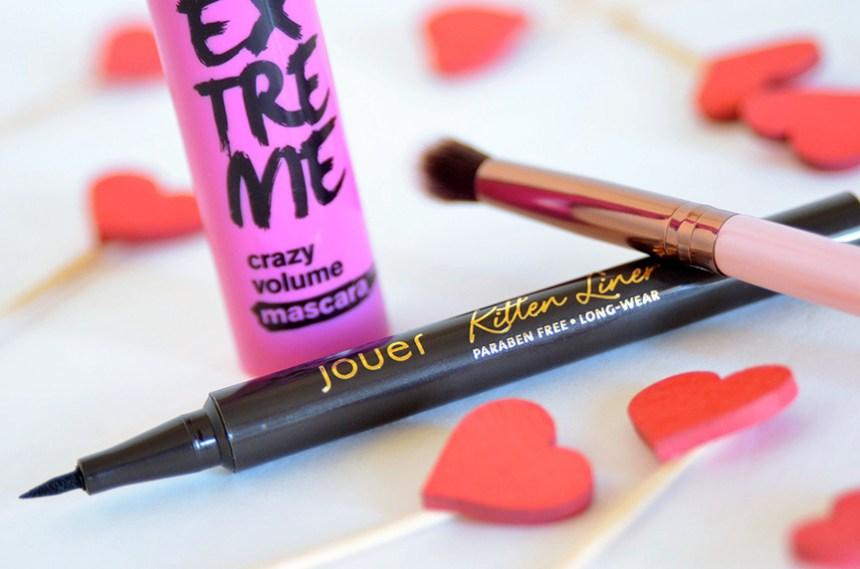 mascara, liquid liner, eyeshadow brush