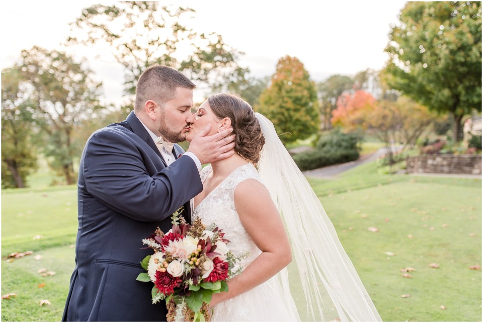 Fall Manufacturers' Golf and Country Club Wedding. Fort Washington, PA Wedding Venue. Montgomery County, PA Wedding Venue. Fall Wedding. Bride and Groom at Ceremony. Bride and Groom Portraits During Golden Hour. Golf Course Wedding.