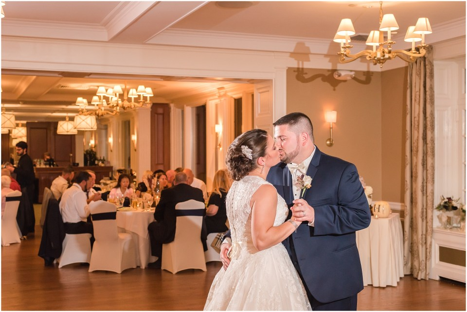 Fall Manufacturers' Golf and Country Club Wedding. Fort Washington, PA Wedding Venue. Montgomery County, PA Wedding Venue. Fall Wedding. Bride and Groom at Ceremony. Bride and Groom First Dance. Wedding Reception.