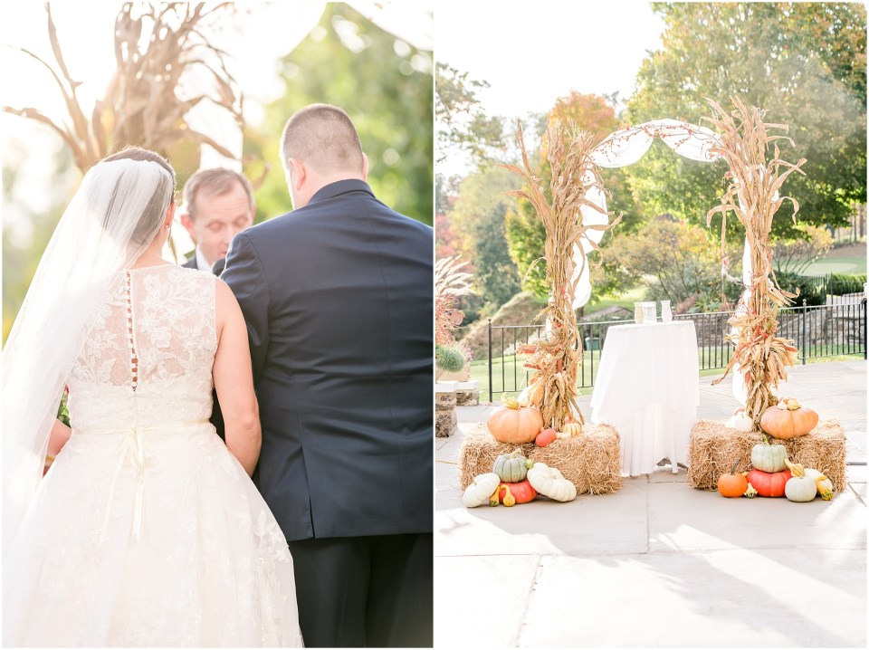 Fall Manufacturers' Golf and Country Club Wedding. Fort Washington, PA Wedding Venue. Montgomery County, PA Wedding Venue. Fall Wedding. First Look. Bride and Groom First Look. Ceremony With Corn Stalks and Pumpkins.