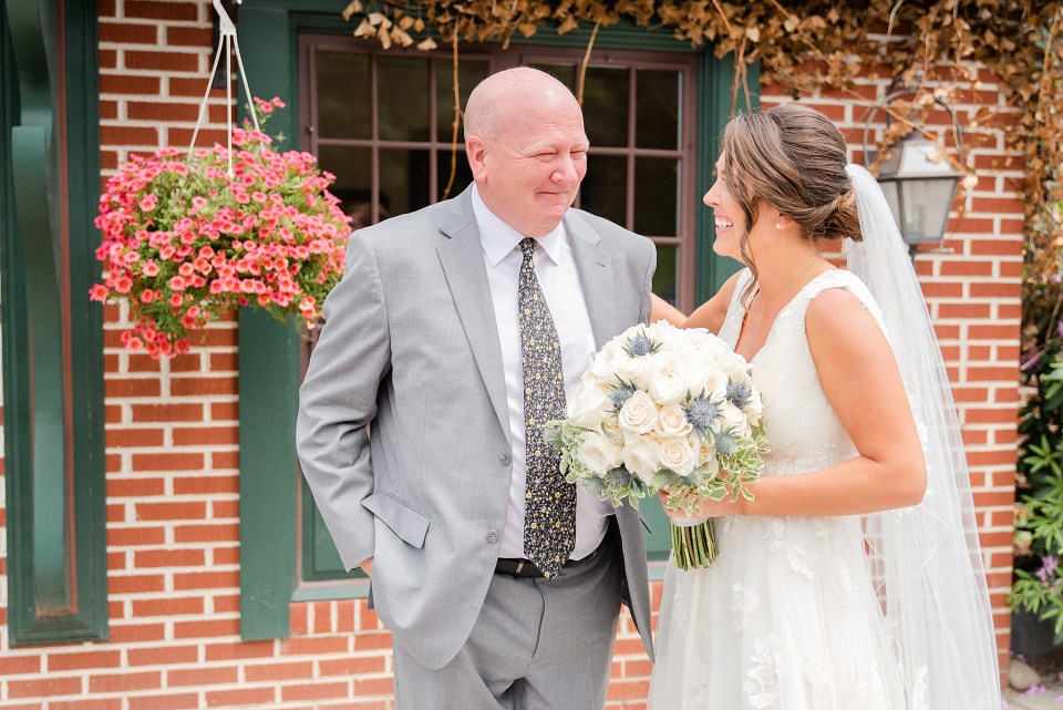 first look with father photographed by PA wedding photographer Renee Nicolo Photography
