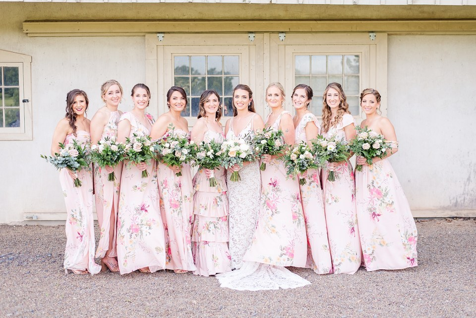 bridesmaids in floral print for French Creek Golf Club wedding photographed by Renee Nicolo Photography