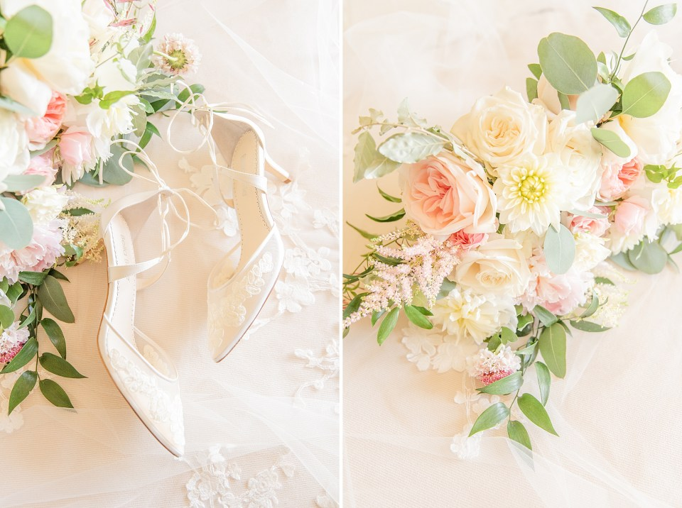 wedding shoes and bouquet photographed by Renee Nicolo Photography