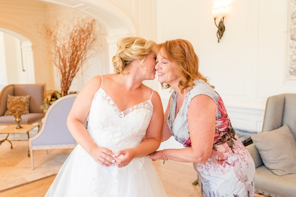 mother and bride getting ready for wedding in Chester, PA with Renee Nicolo Photography