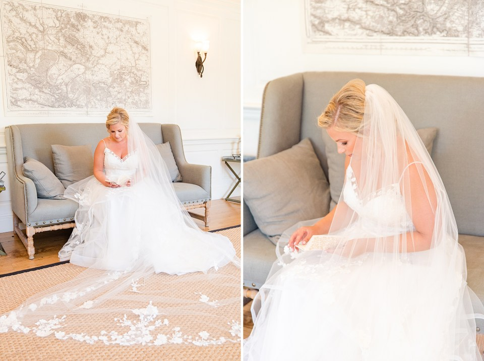 bride opens letter from groom photographed by Renee Nicolo Photography
