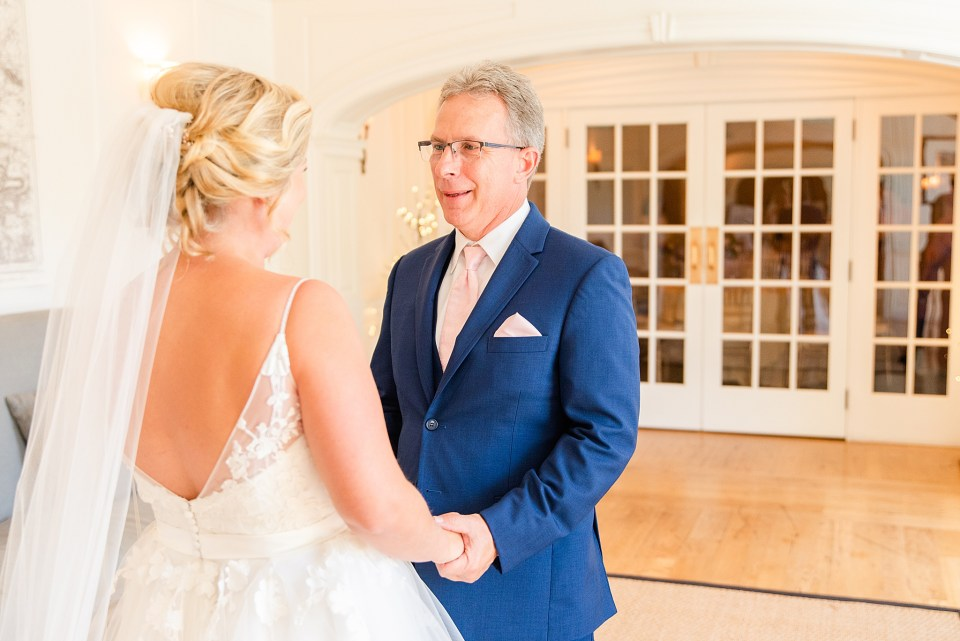 bride-father first look photographed by Pennsylvania wedding photographer Renee Nicolo Photography
