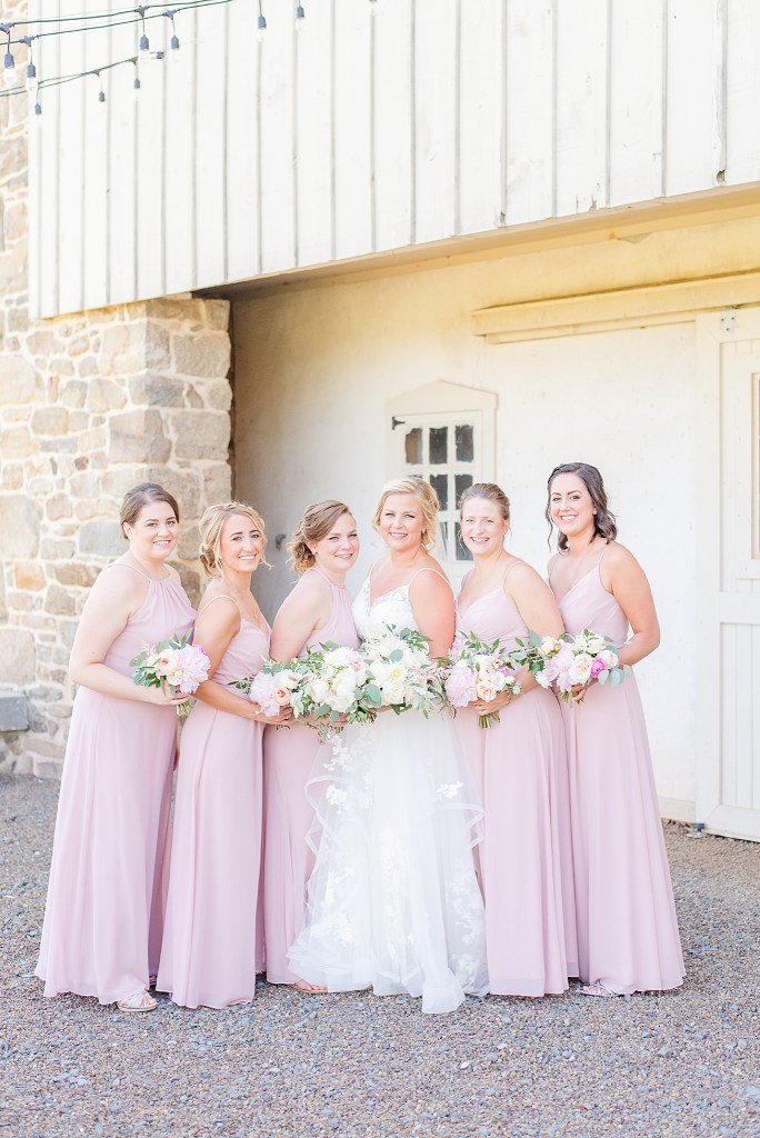 pastel pink bridesmaid gowns photographed by Renee Nicolo Photography