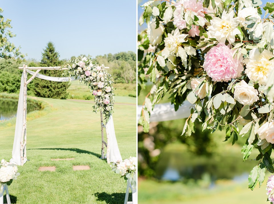 floral arch at French Creek Golf Club for ceremony photographed by Renee Nicolo Photography