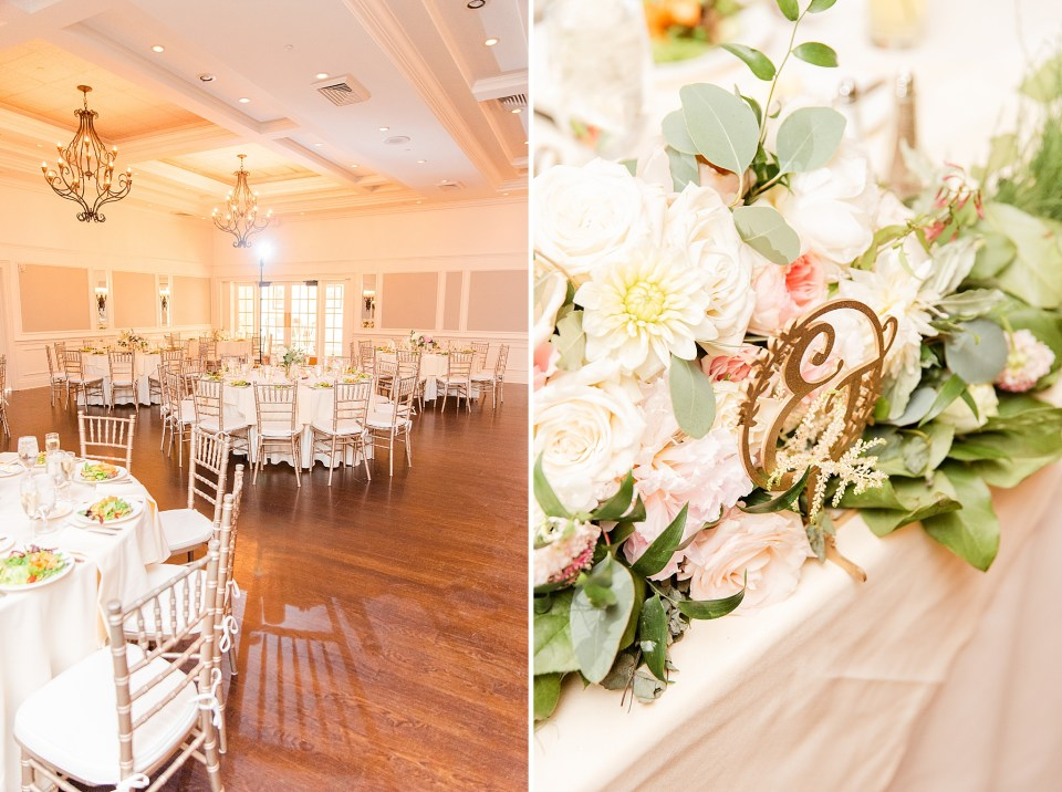 wedding reception details at French Creek Golf Club photographed by Renee Nicolo Photography