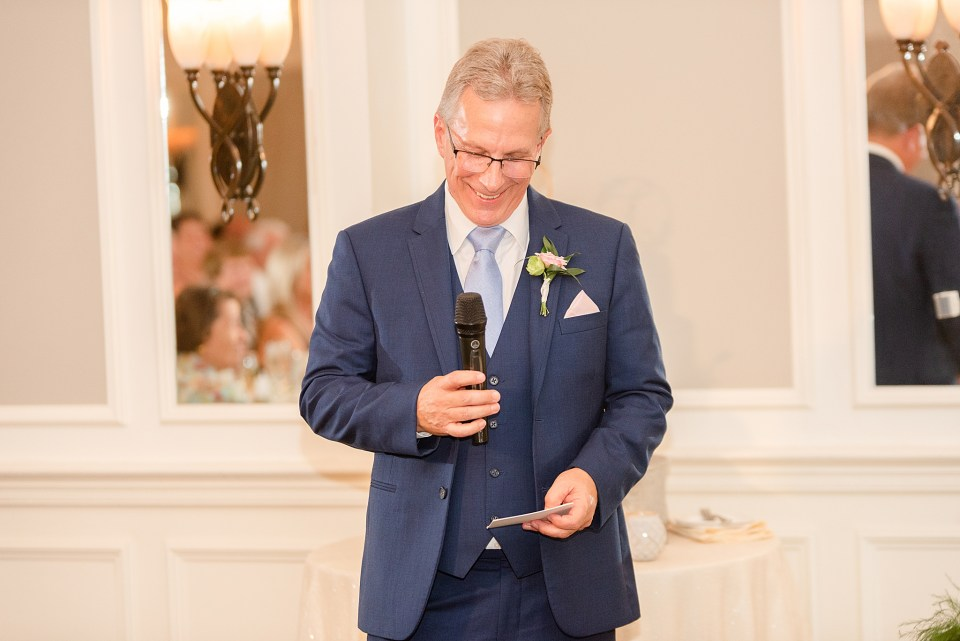 father gives toast during French Creek Golf Club wedding reception photographed by Renee Nicolo Photography