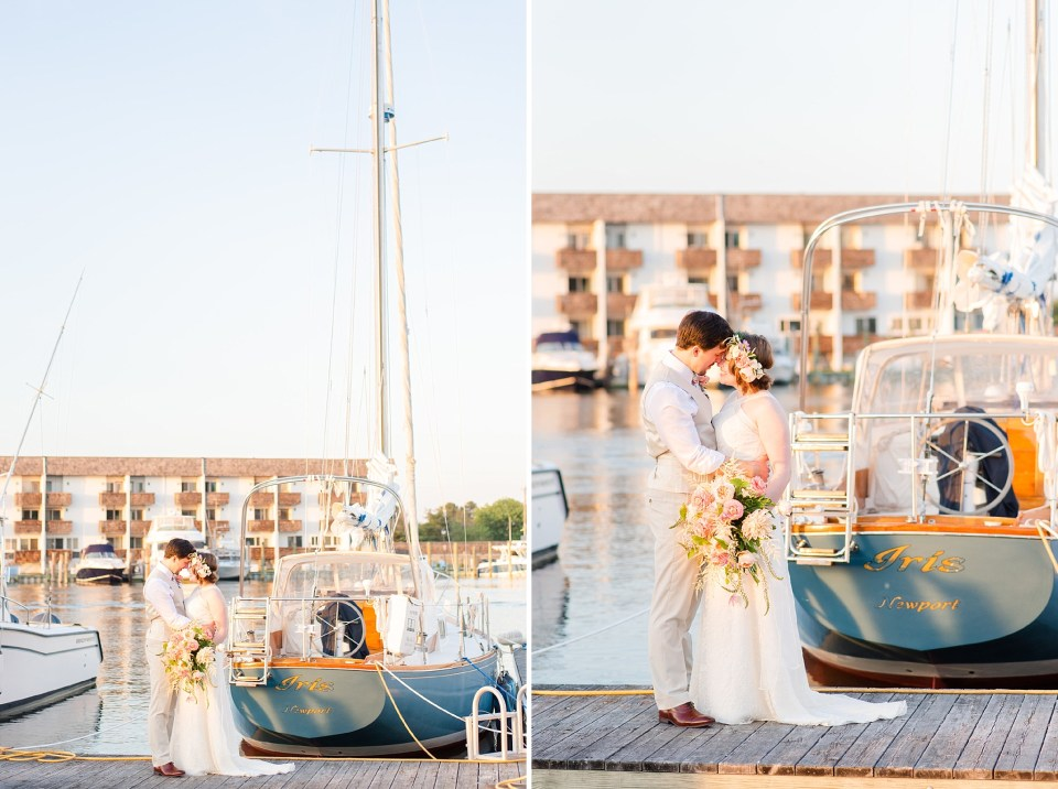 Rehoboth Beach pier wedding portraits photographed by Renee Nicolo Photography