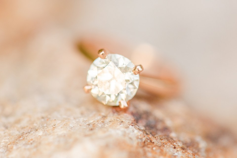 diamond ring at Glasbern Inn engagement session by Renee Nicolo Photography