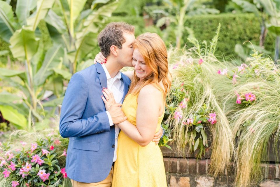 engagement portraits in gardens of Longwood Gardens with Renee Nicolo Photography