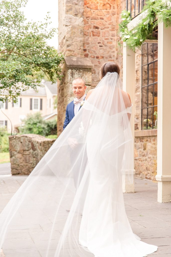 first look at HollyHedge Estate wedding day with Renee Nicolo Photography