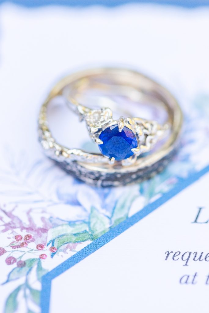 wedding ring with blue stone photographed by Renee Nicolo Photography