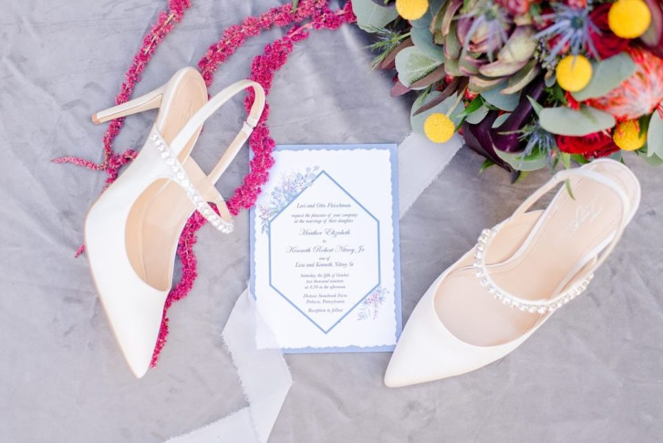 wedding stationery with blue color scheme photographed by Renee Nicolo Photography