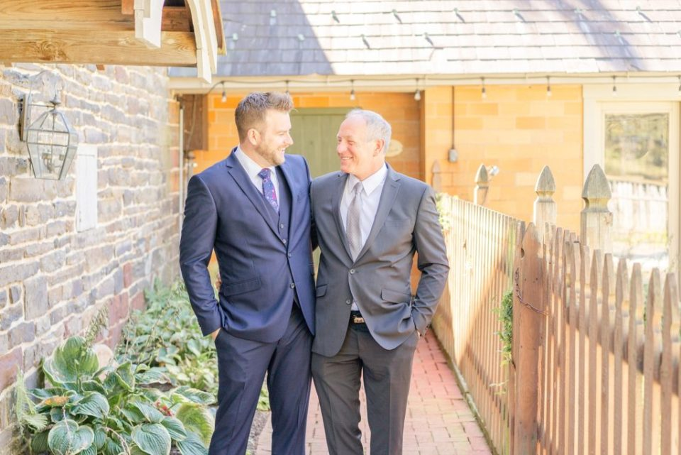groom and father get ready for wedding day at Historic Stonebrook Farm with Renee Nicolo Photography