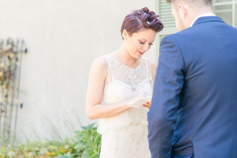 bride and groom exchange private vows on wedding day