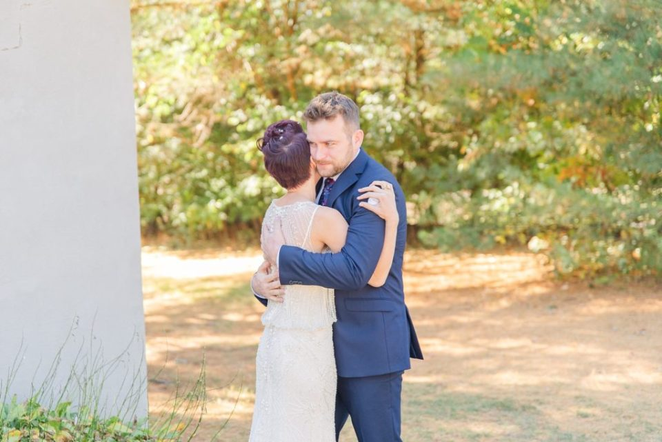 Pennsylvania wedding day first look photographed by Renee Nicolo Photography