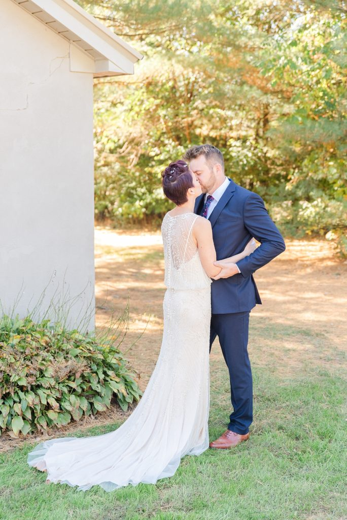 Renee Nicolo Photography photographs bride and groom during first look at Historic Stonebrook Farm