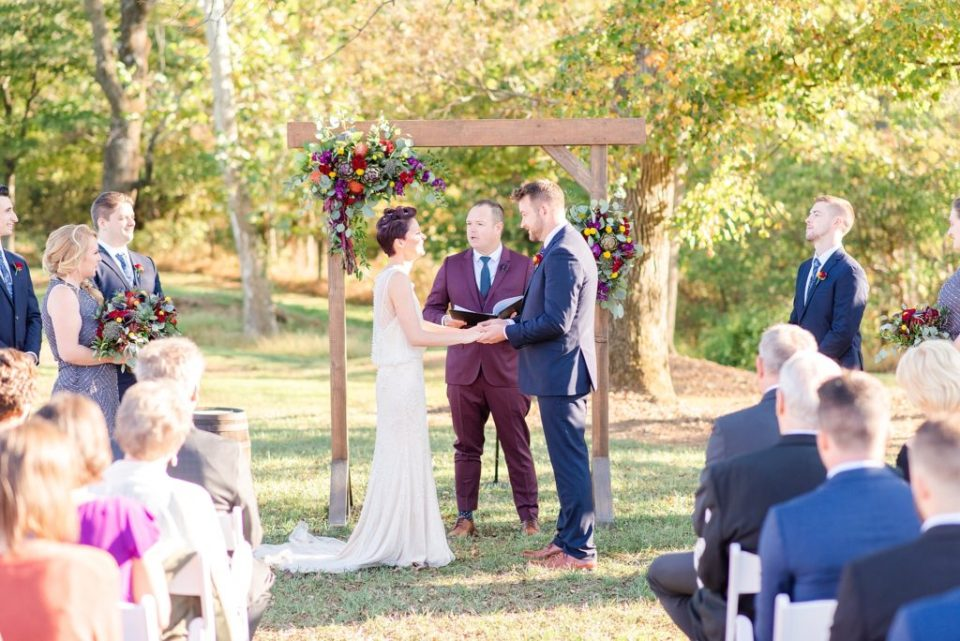 outdoor wedding ceremony photographed by Renee Nicolo Photography in PA