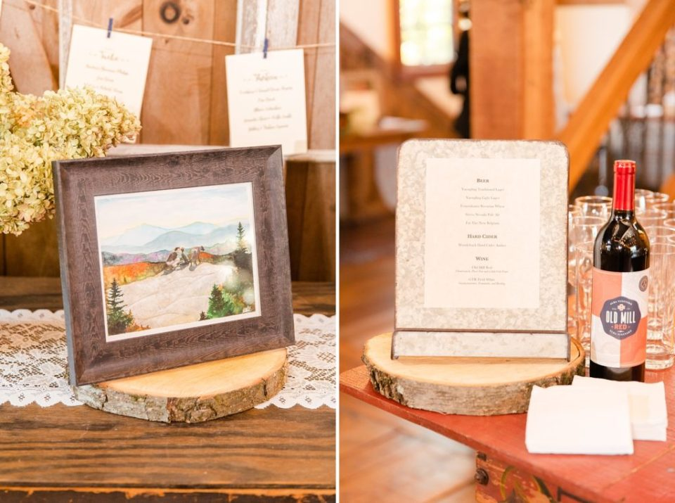 rustic wedding decor photographed by Renee Nicolo Photography