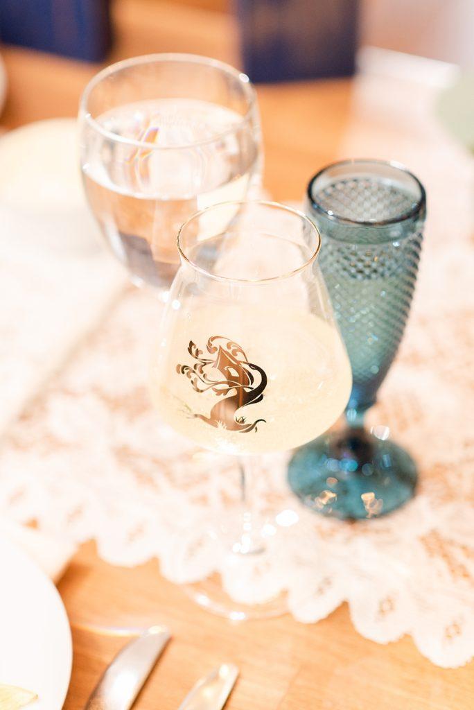 wine glass at wedding reception
