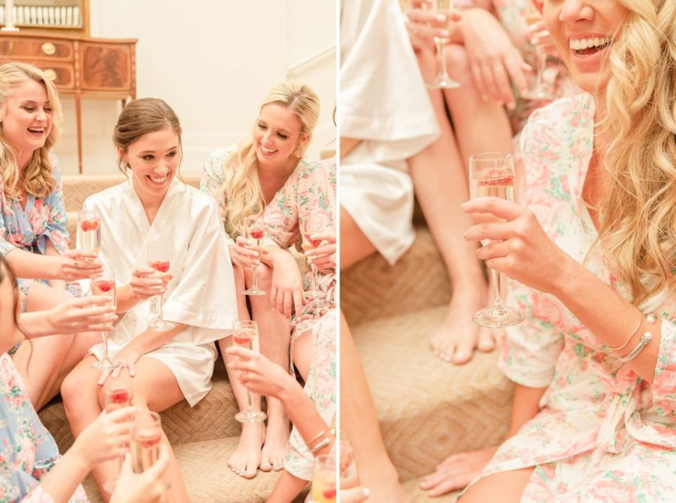 bridesmaids prepare for Whitemarsh Valley Country Club wedding with Renee Nicolo Photography