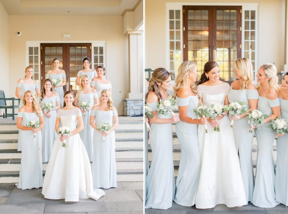 bridesmaids in pale blue dresses photographed by Renee Nicolo Photography