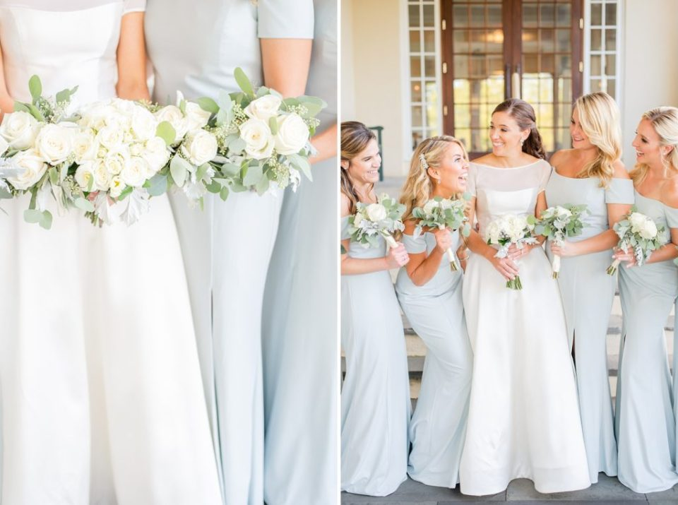 pastel blue bridesmaid gowns photographed by Renee Nicolo Photography