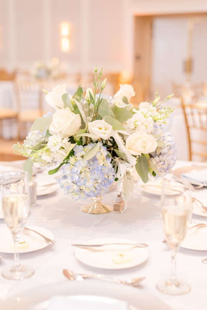 floral centerpieces for Whitemarsh Country Club wedding reception photographed by Renee Nicolo Photography