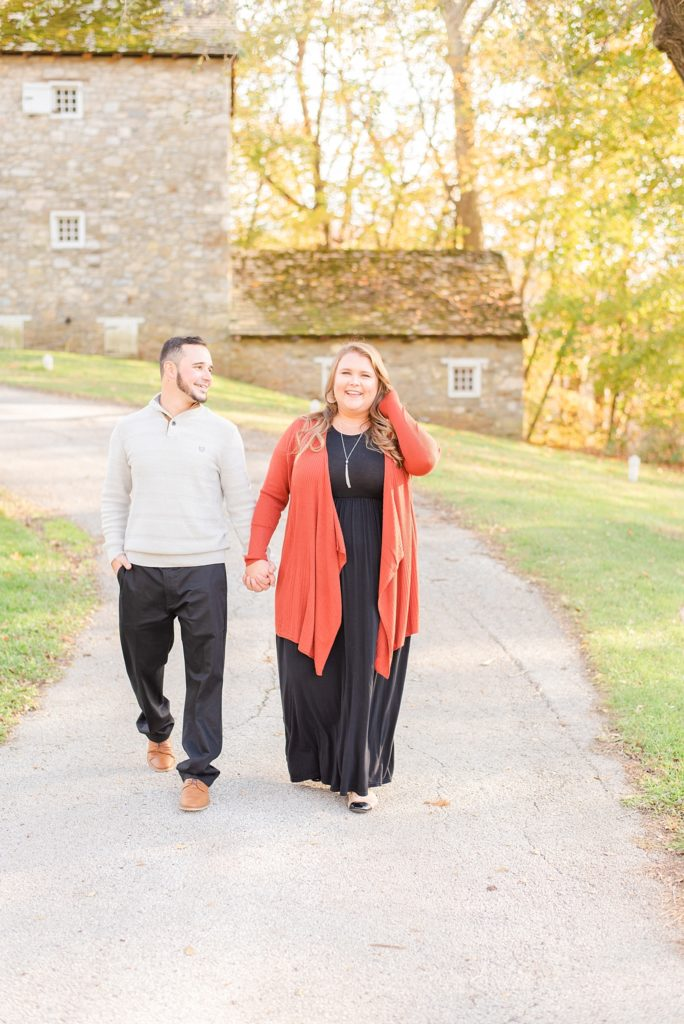 fall engagement session during golden hour photographed by Renee Nicolo Photography