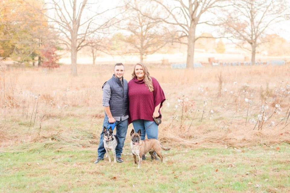 autumn engagement photos with dogs photographed by Renee Nicolo Photography